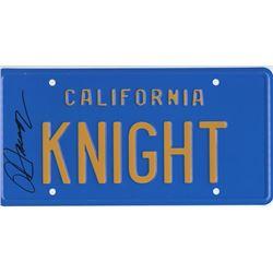 "David Hasselhoff Signed Replica ""KNIGHT"" License Tag"