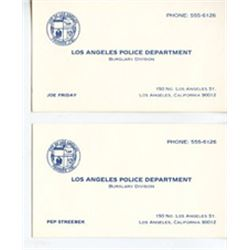 Lot of 2 Screen Used Dragnet Prop Business Cards