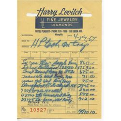 Harry Levitch Jeweler Invoice Dated 4-19-67 Elvis Presley Jewelry