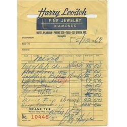 Harry Levitch Jeweler Invoice Dated 5-12-67 Elvis Presley Jewelry
