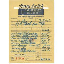 Harry Levitch Jeweler Invoice Dated 4-29-67 Elvis Presley Jewelry