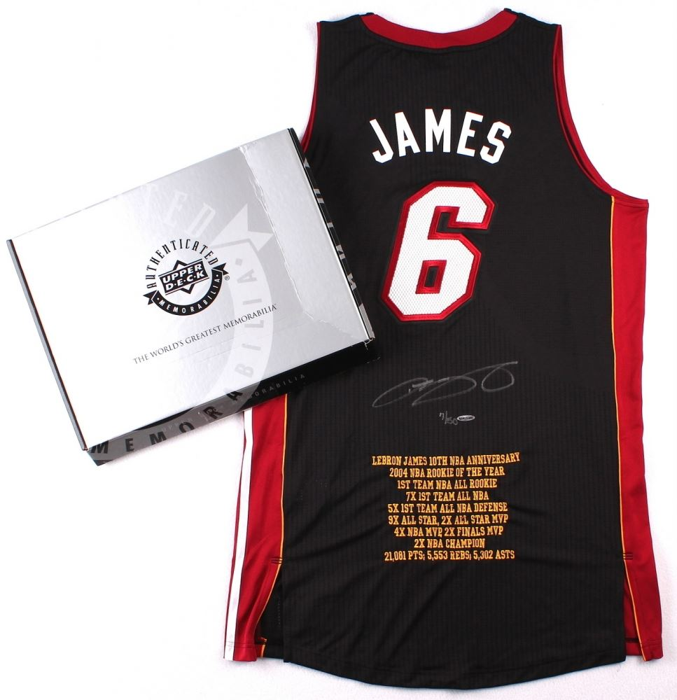 new style 0f630 d66b0 LeBron James Signed Miami Heat Authentic Adidas