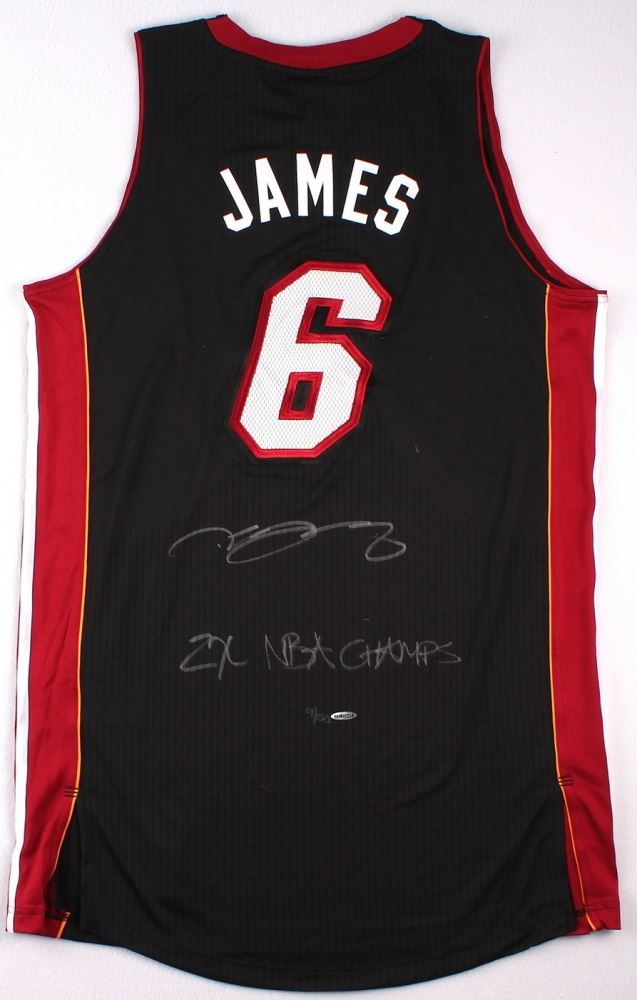 huge selection of ee58e d58ad LeBron James Signed LE Miami Heat Authentic Adidas Away ...