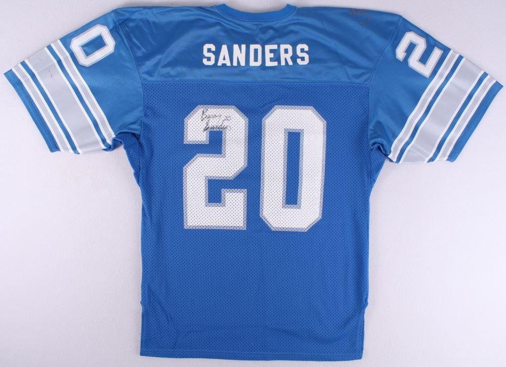 innovative design 11214 b04e0 Barry Sanders Signed Lions Jersey - Autograph Graded 8 ...