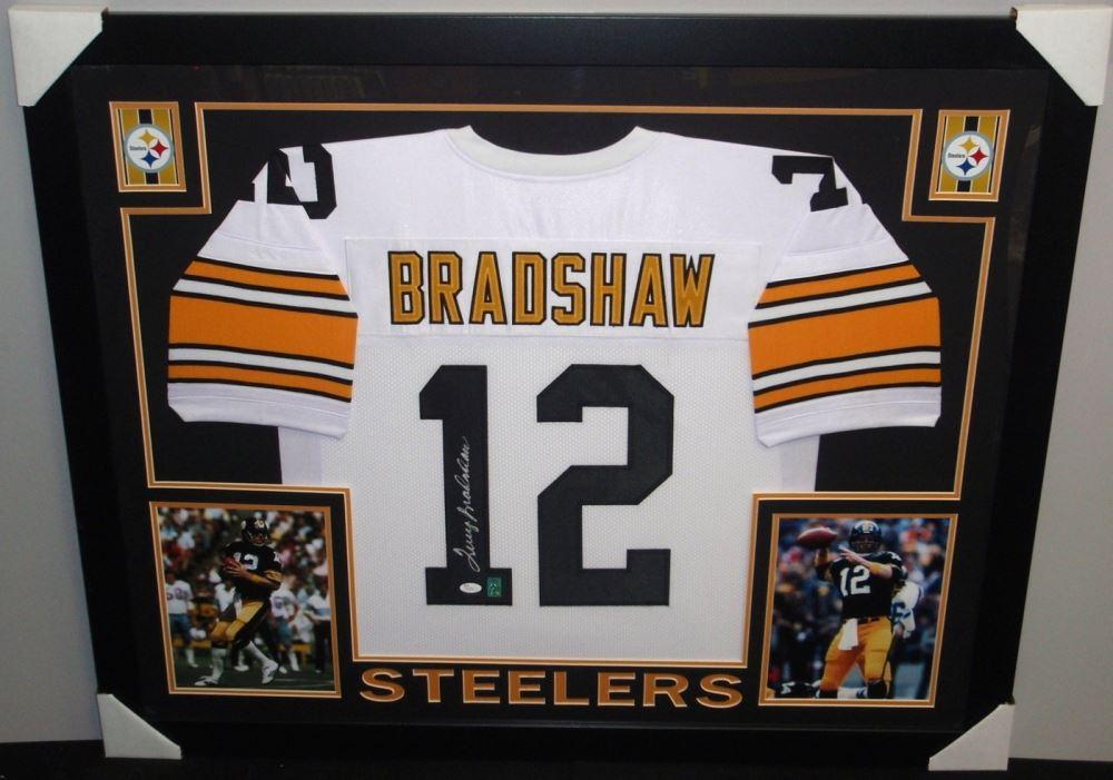 85843593c10 Image 1   Terry Bradshaw Signed Steelers 35x43 Custom Framed Jersey (JSA COA    GTSM ...