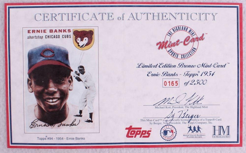 Ernie Banks Le 1954 Topps 94 Rc Solid Bronze Baseball Card