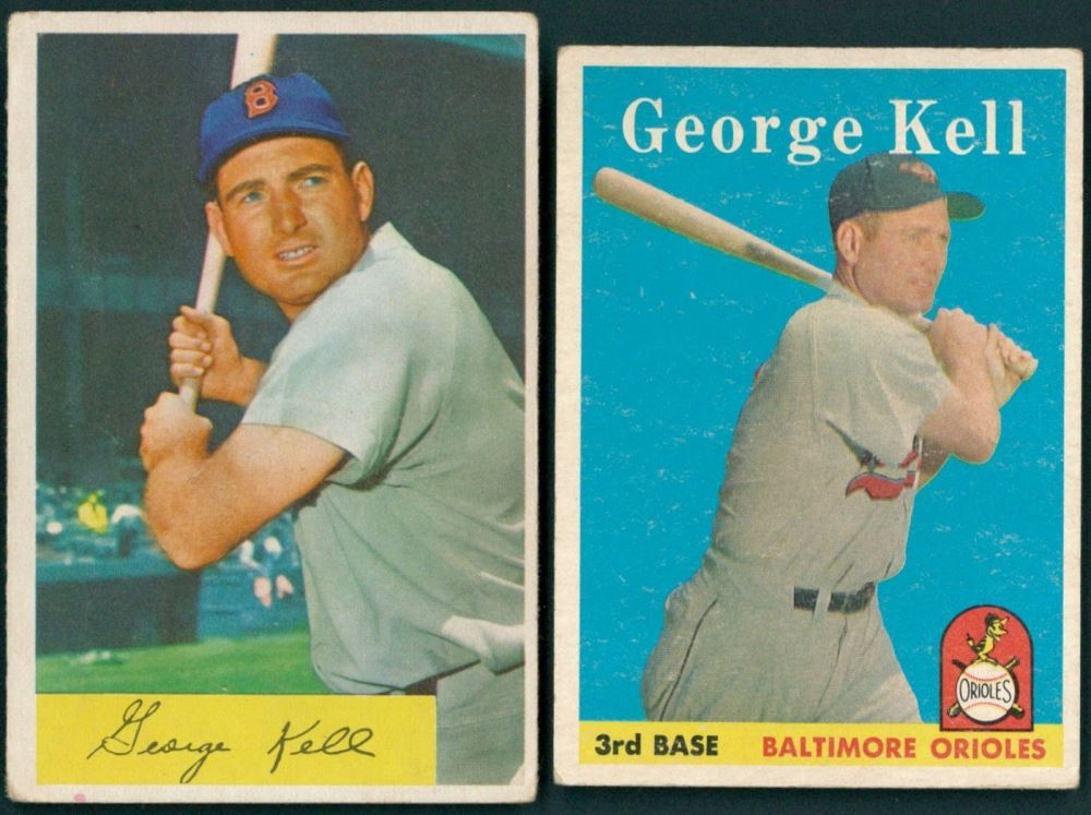 Lot Of 2 George Kell Baseball Cards With 1958 Topps 40 1954