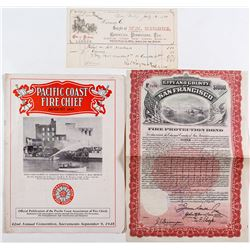 California Fire Department Ephemera (Magazine, Receipt, Bond)