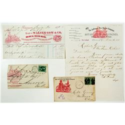 Steam Fire Engine Postal Covers and Billheads