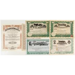 Automobile Stock Certificates with Vignettes of Old Cars