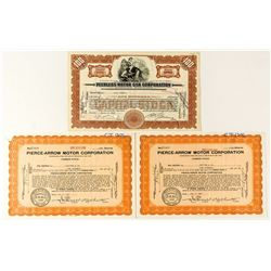 Peerless & Pierce-Arrow Motor Stock Certificates