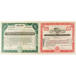 Star and Steinmetz Motor Co. Stock Certificates