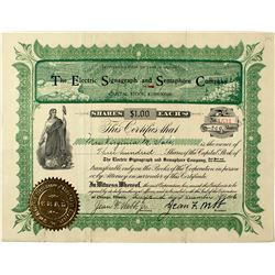 Electric Signagraph & Semaphore Company Stock Certificate (Railroad Communication Device)