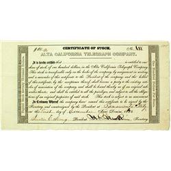 Alta California Telegraph Company Stock Certificate (Gold Rush Era)