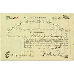 Aspen & Glenwood Springs Telegraph Stock Certificate