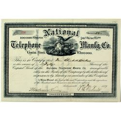 National Telephone Manfg. Co. Stock Certificate