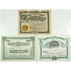Teletype machines Stock Certificates Trio