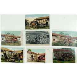 Seven Postcards of an Old Prairie-schooner and Stagecoach