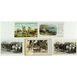 Five California Stagecoach Postcards