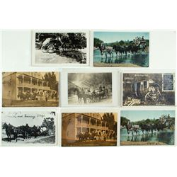 Eight Stagecoach Postcards from the Mother Lode