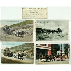 Four Nevada Stage Postcards and a Ticket: Eureka to Ely