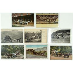 Eight Deadwood and Wyoming Stagecoach Postcards