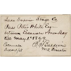 Handwritten Pass for the Lake Superior Stage Company