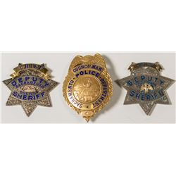 Three Sacramento Badges: Silver and Brass
