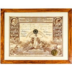 Panama Pacific Exposition Employee Recognition Certificate (with Badge)
