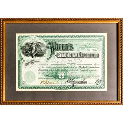 The World's Columbian Expostion Stock Certificate