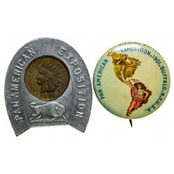 Pan-American Exposition Button & Encased Penny