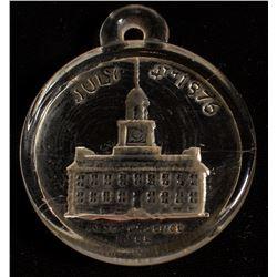 1876 Philadelphia U.S. Centennial (?) Glass looped Independence Hall medallion