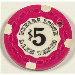 Rare $5 Nevada Lodge Gaming Chip, Lake Tahoe