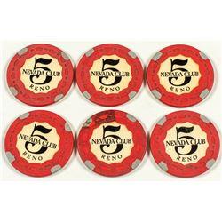 Six Scarce $5 Nevada Club Reno Gaming Chips