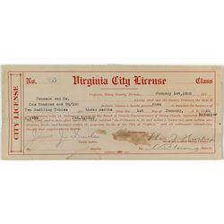 Rare Virginia City Gambling License