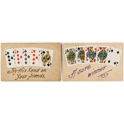 Two Early Postcards with Miniature Playing Cards Attached