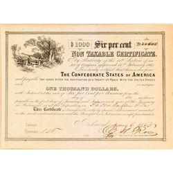 Non-Taxable Certificate, The Confederate States of America