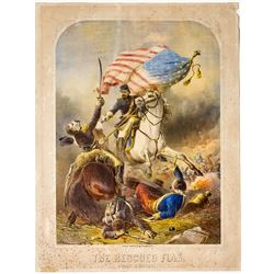 The Rescued Flag, Civil War Lithograph