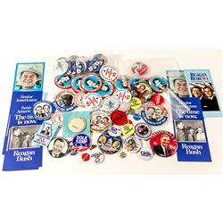 Various Presidential Buttons and Promotional Material (Reagan, Mondale, Obama)