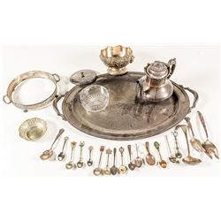 Silver Plate Tray and Serving Utensils