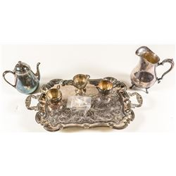 6 Piece Silver Plate Tray and Other Serving Untensils