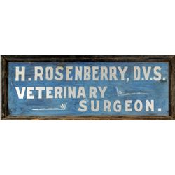 Original Rosenberry Sign, Circa 1910 (Veterinary Surgeon)