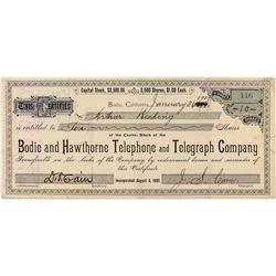 Bodie and Hawthorne Telephone and Telegraph Company Stock Certificate (J.S. Cain Signature)