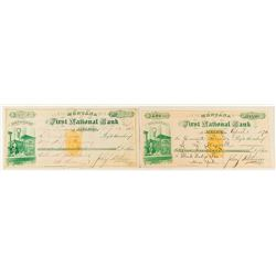 Very Rare Pair of First National Bank Checks with RN-B1 and coin/ingot vignette