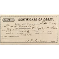 Rare Assay Certificate for Buxton Mill (Dakota Territory)