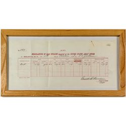 Assay Receipt from US Assay Office for dust, Framed Montana *Territorial*
