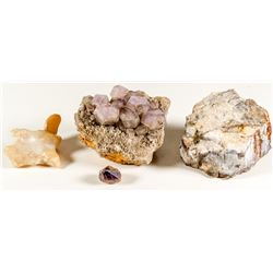 Specimens of Amethyst, Petrified Wood, and Agate