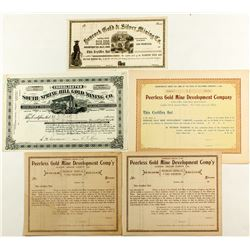 Five Amador County Mining Stock Certificates