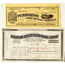 Two Auburn Area Mining Stock Certificates