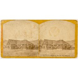 Stereoview of Quicksilver Mine Boarding House by R. E. Wood